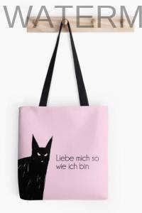 Stofftasche mit Black Cat Rosaversum Illustration
